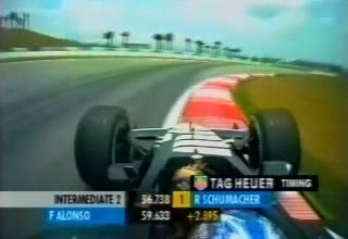 Alonso onboard Minardi Malaysian GP F1 2001