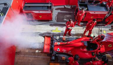 Kimi Raikkonen Ferrari F1 2018 engine smoke rear end
