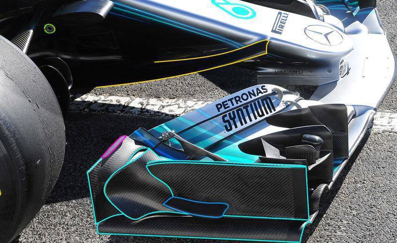 Mercedes W09 F1 2018 front wing 2 Barcelona test