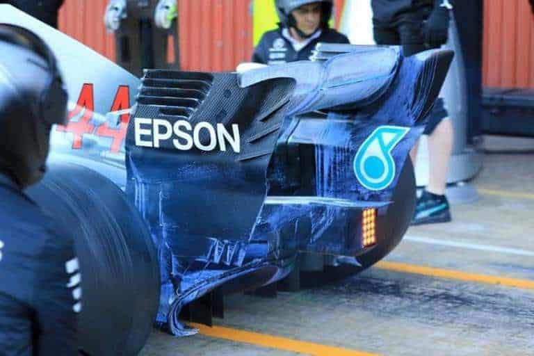 Serrated Diffuser Gurney On 2018 F1 Mercedes W09