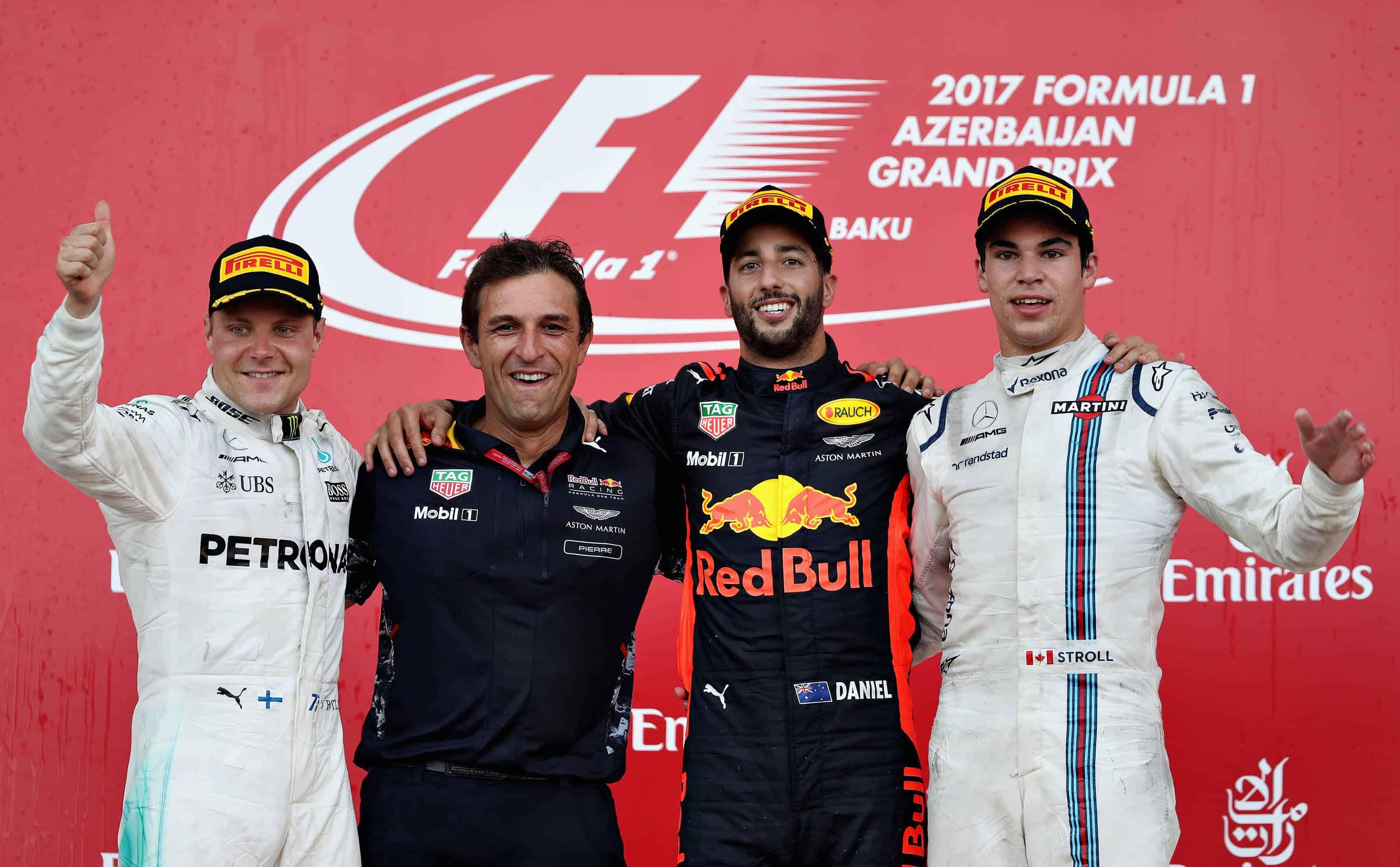 Pierre Wache Bottas Ricciardo Stroll Azerbaijan F1 2017 podium Photo Red Bull