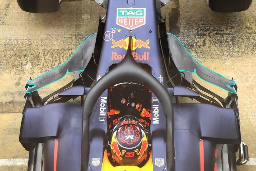 Red Bull RB14 F1 2018 new parts bargeboard aero top Photo MAXF1net