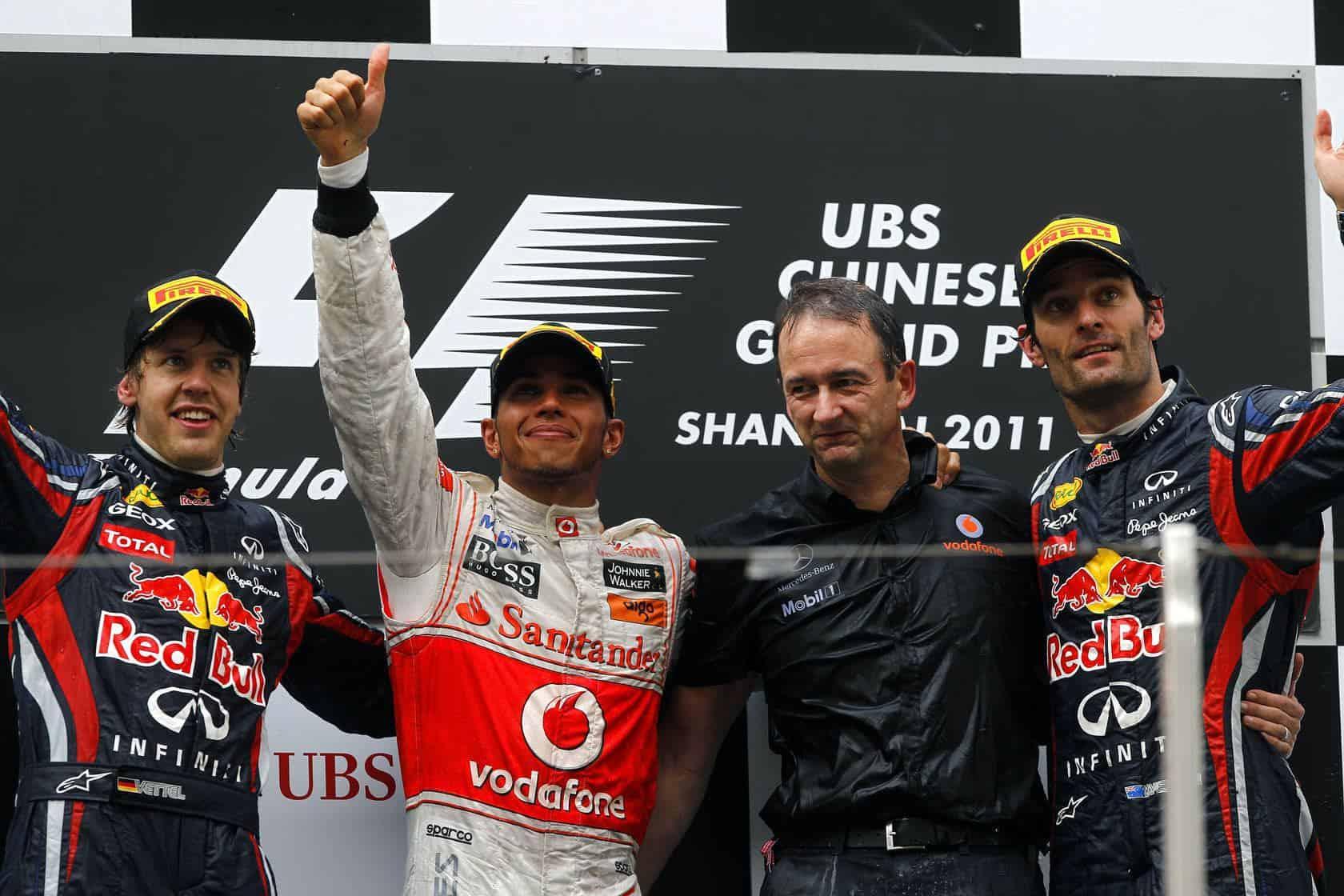 Chinese GP F1 2011 podium Hamilton Vettel Webber
