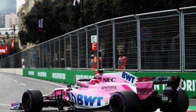 Esteban Ocon Azerbaijan GP F1 2018 side rear Photo Force India