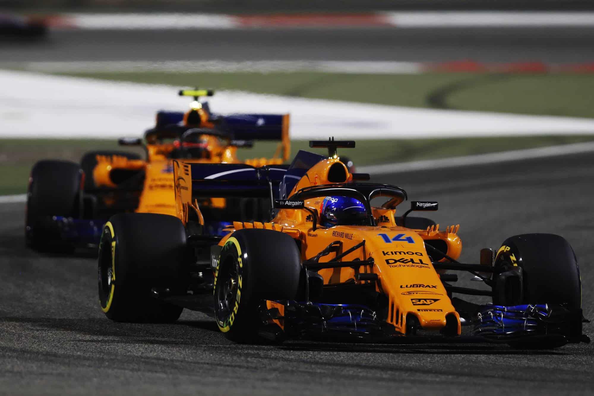 Fernando Alonso McLaren MCL33 Renault Bahrain GP F1 2018 leads Stoffel Vandoorne Photo McLaren