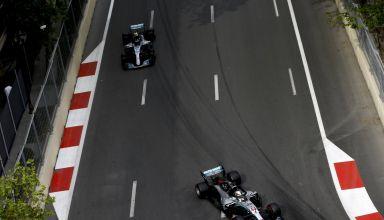 Hamilton leads Bottas Mercedes W09 F1 2018 Azerbaijan GP Baku