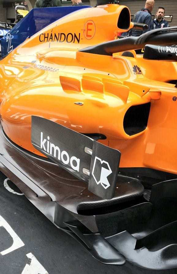 McLaren MCL33 bargeboard sidepod area F1 2018 Chinese GP front