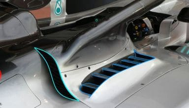 Mercedes W09 Bahrain GP F1 2018 cooling outlet behind halo Photo AMuS