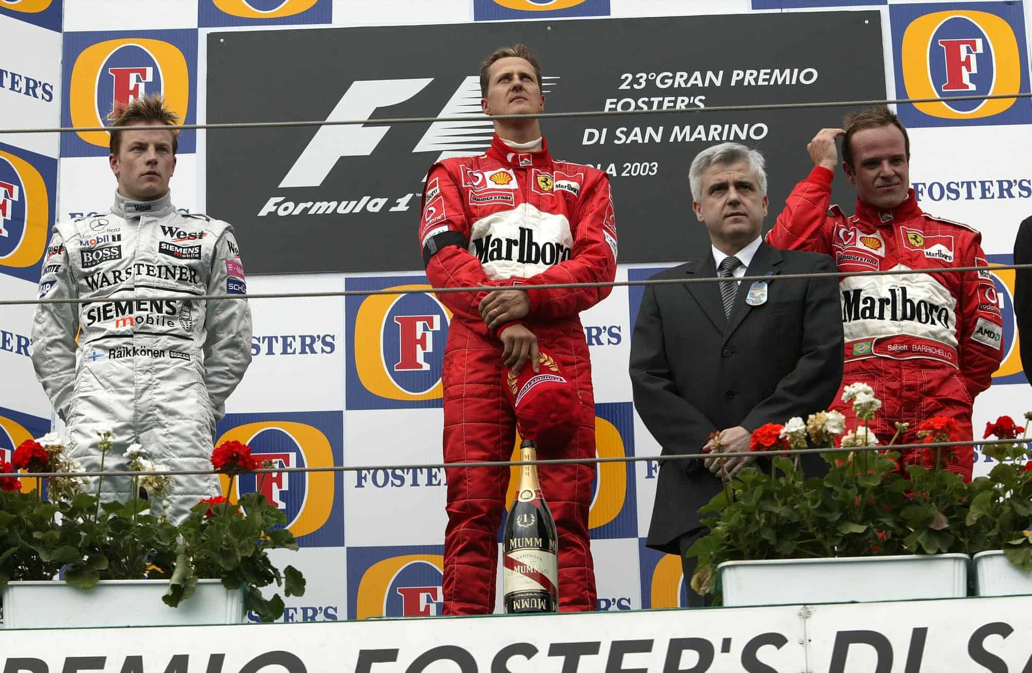 San Marino GP F1 2003 Imola podium Schumacher Raikkonen Barrichello Photo Ferrari