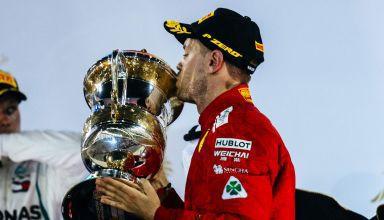 Sebastian Vettel Ferrari SF71H Bahrain GP F1 2018 podium trophy Photo Ferrari