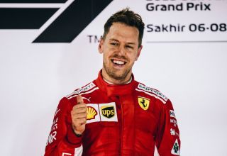 Sebastian Vettel Ferrari SF71H Bahrain GP F1 2018 podium win Photo Ferrari