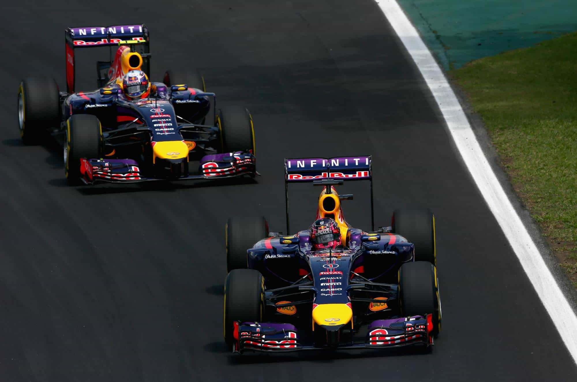 Vettel leads Ricciardo Red Bull RB10 Brazilian GP F1 2014 Photo Red Bull