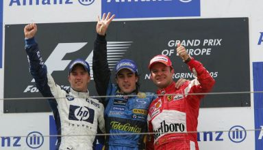 2005 European GP Nurburgring Alonso Heidfeld Barrichello podium