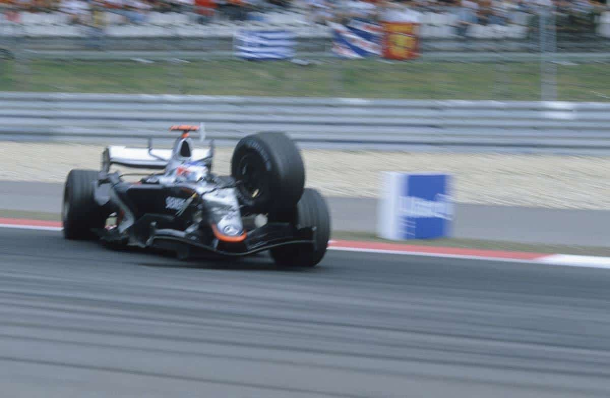 2005 European GP Nurburgring Kimi Raikkonen McLaren MP4-20 last lap