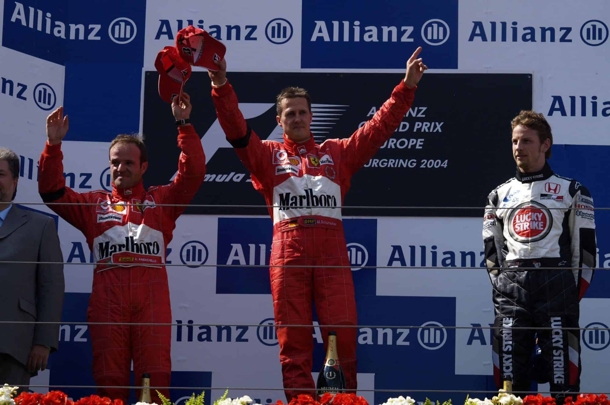European-GP-F1-2004-Nurburgring-podium-Schumacher-Barrichello-Button-Photo-Ferrari