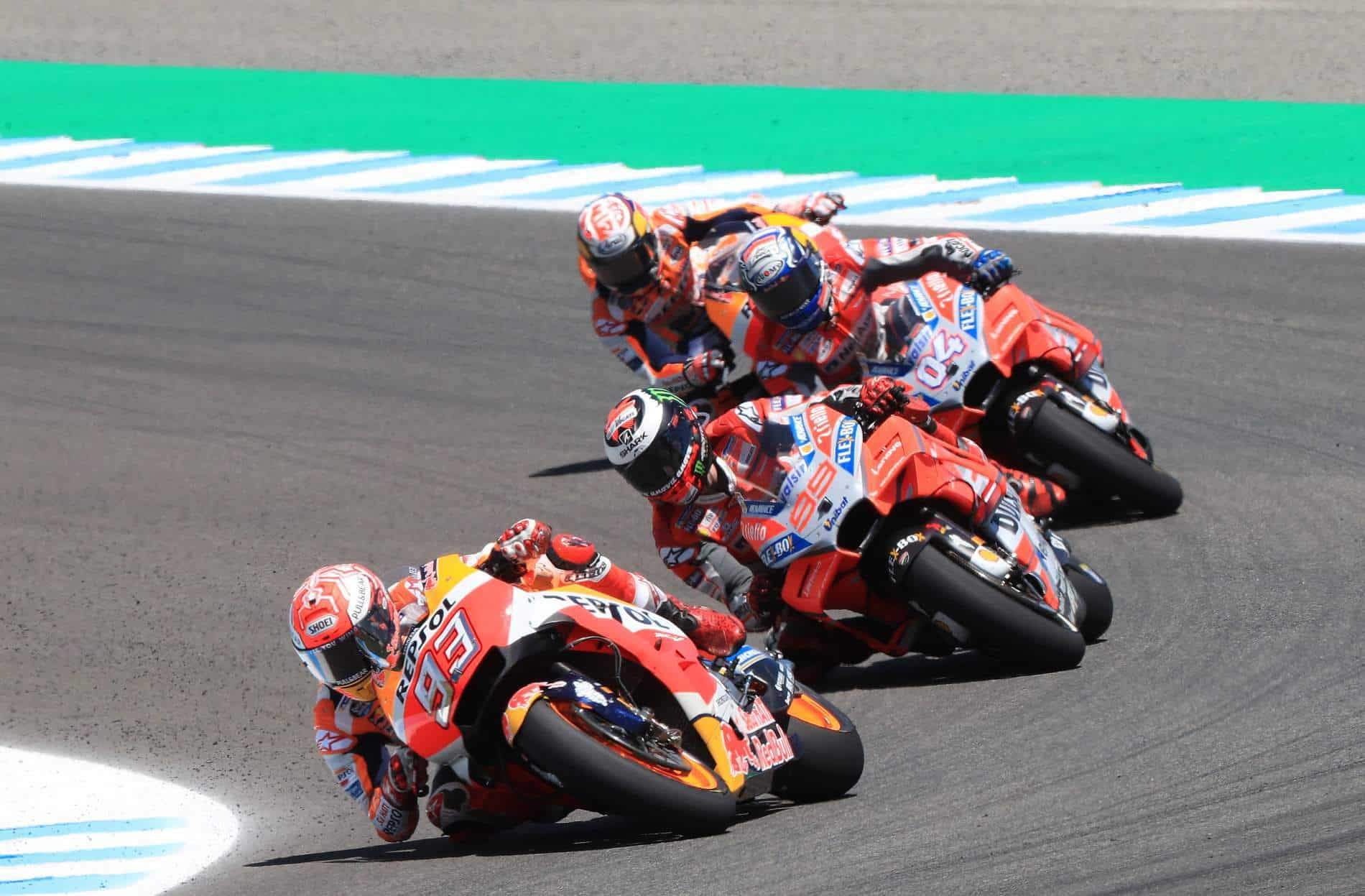 Marc Marquez Repsol Honda leads Ducatis and team mate Red Bull French GP Le Mans Moto GP 2018 Photo Red Bull