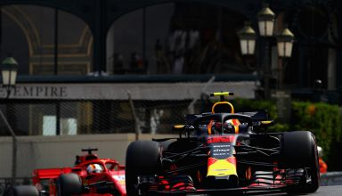 Max Verstappen Red Bull RB14 leads Sebastian Vettel Ferrari SF71H Monaco GP F1 2018 Photo Red Bull