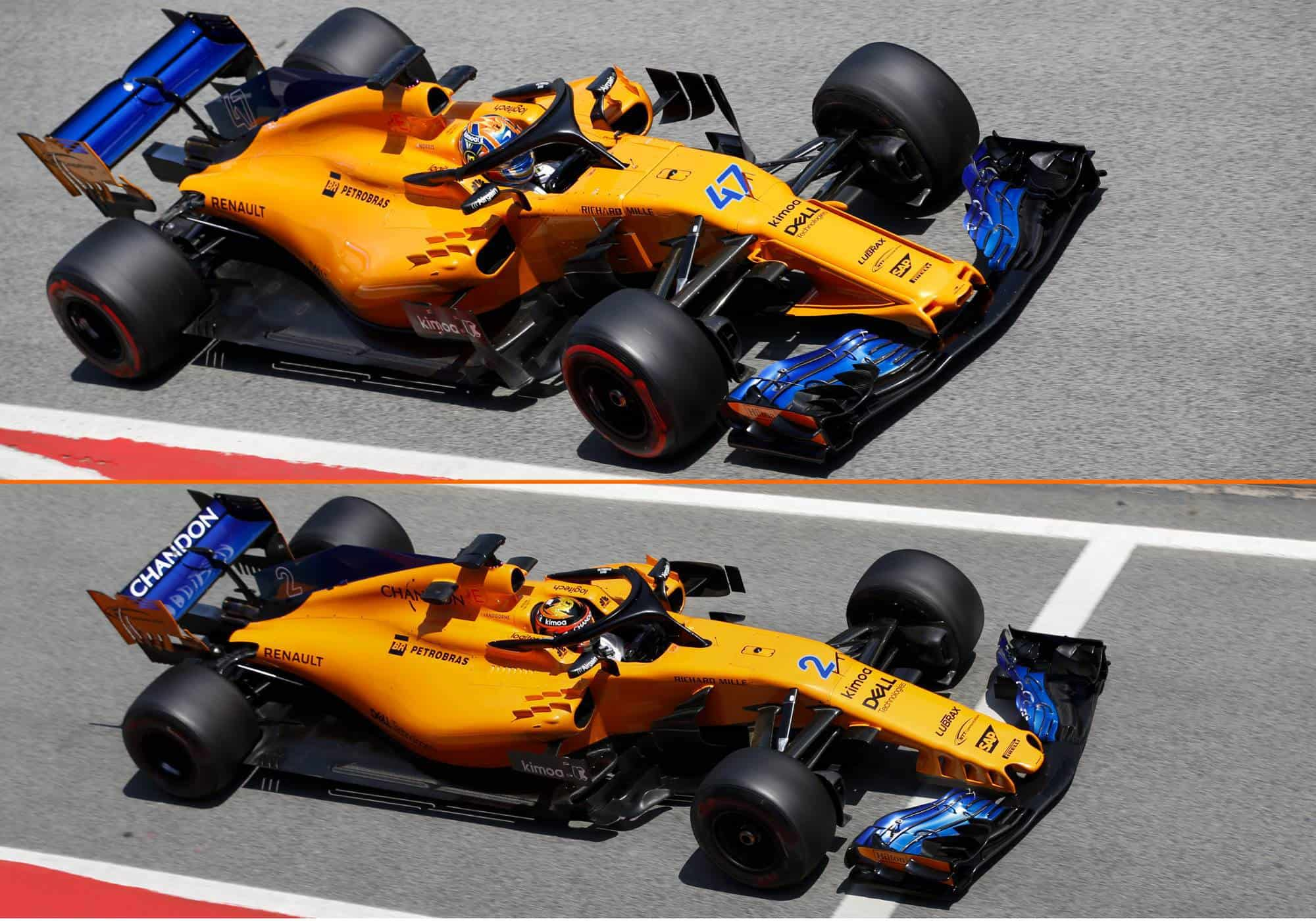 McLaren MCL33 F1 2018 Barcelona Spanish GP comparison aero package