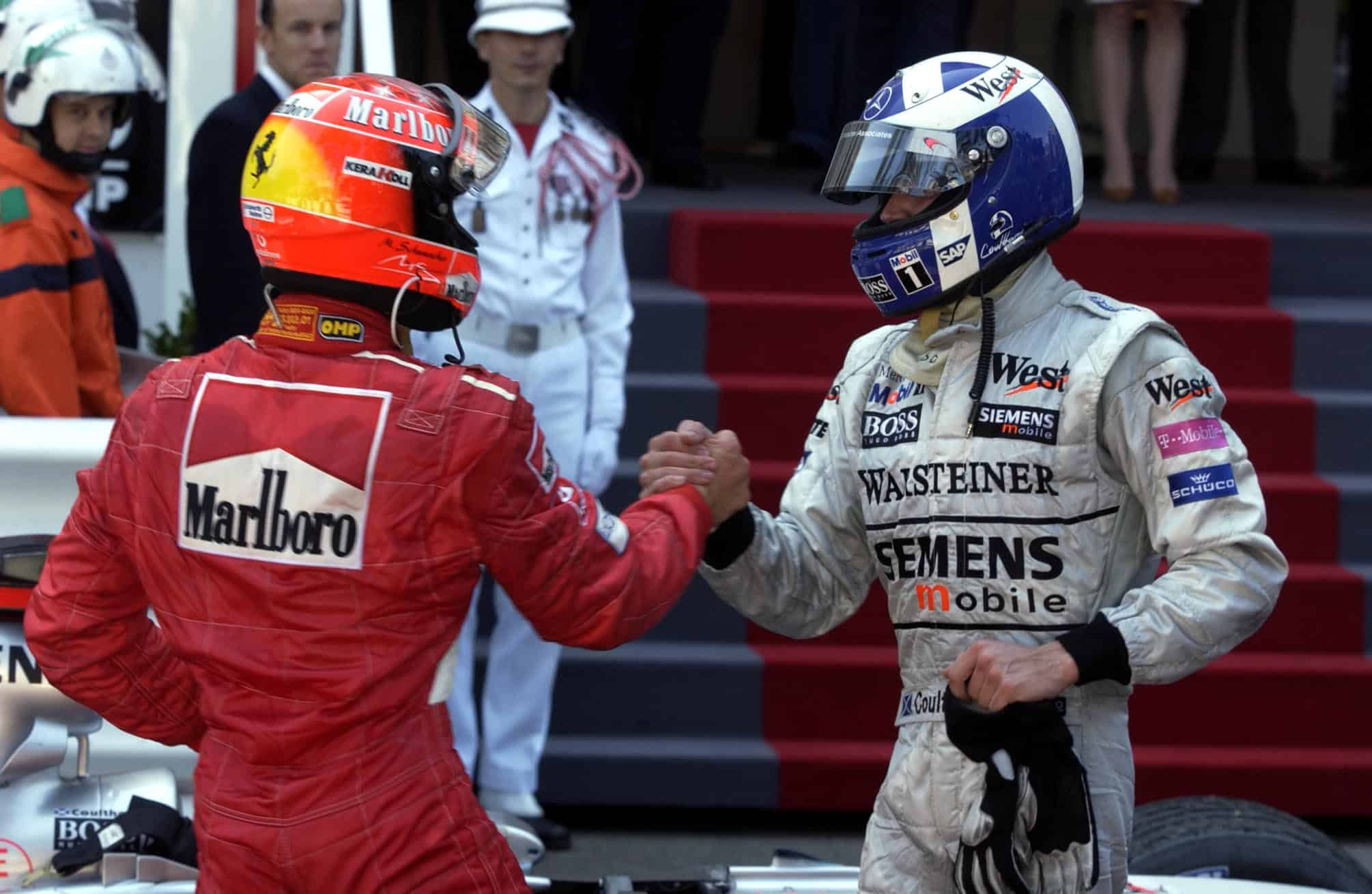Monaco GP F1 2002 Schumacher Coulthard after the race Photo Ferrari
