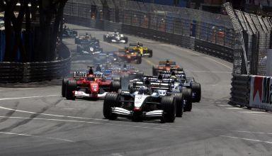 Monaco GP F1 2002 start Coulthard leads Montoya Photo Ferrari