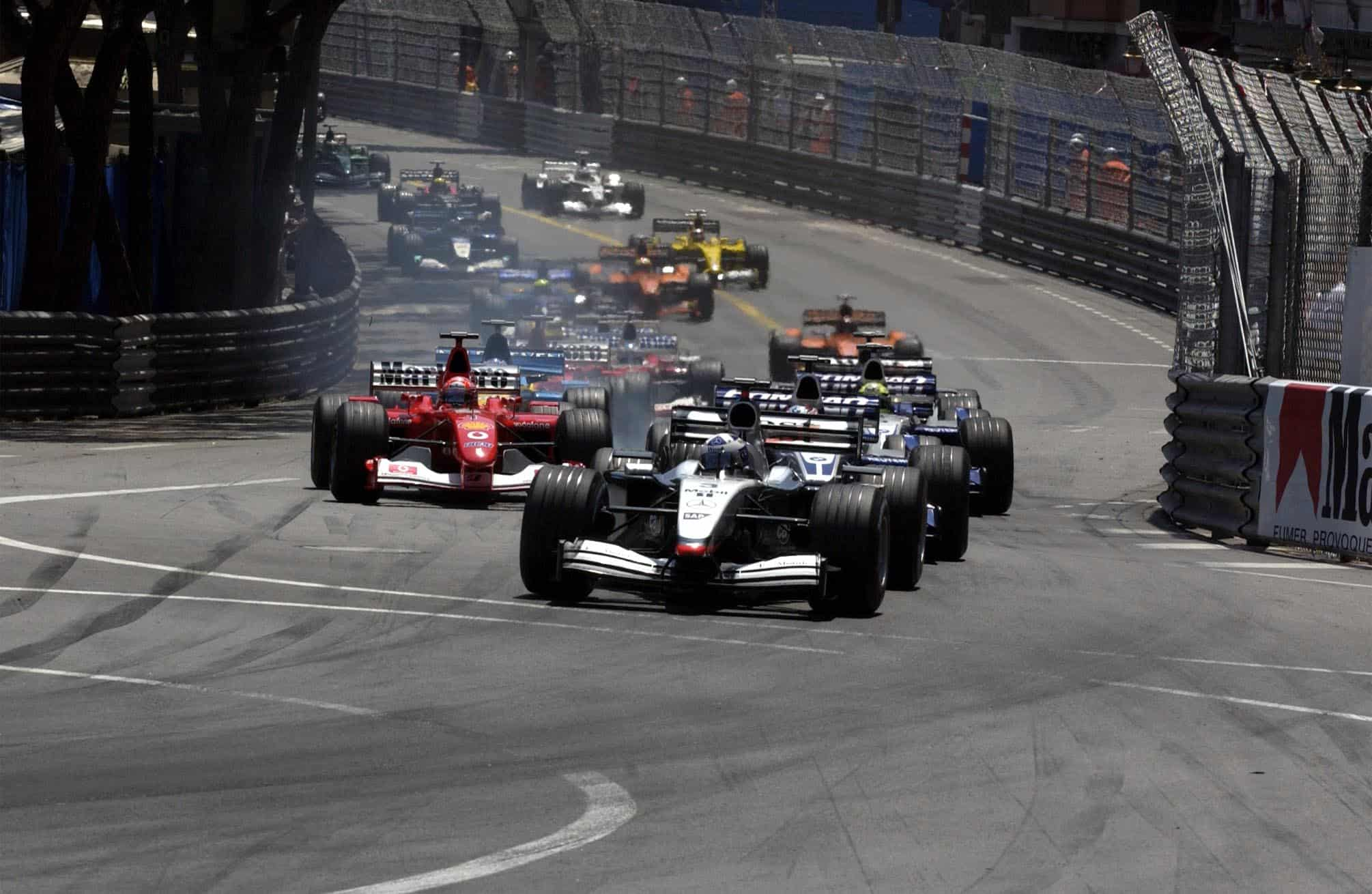 Monaco GP F1 2002 start Coulthard leads Montoya Photo Ferrari