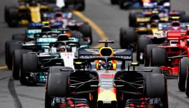 Ricciardo leads Vettel Monaco GP F1 2018 start Photo Red Bull