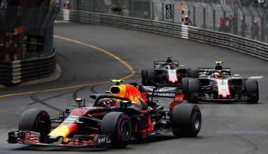 Verstappen leads Haas drivers Grosjean and Magnussen Monaco GP F1 2018 Photo Red Bull