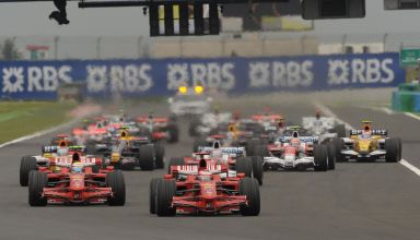 French GP F1 2008 start Raikkonen leads Massa Ferrari F2008