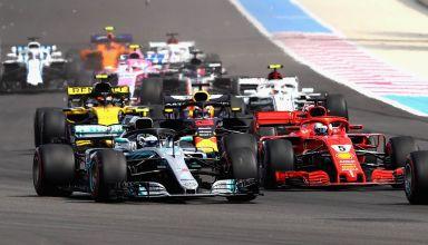 French GP F1 2018 start Vettel Bottas Photo Red Bull