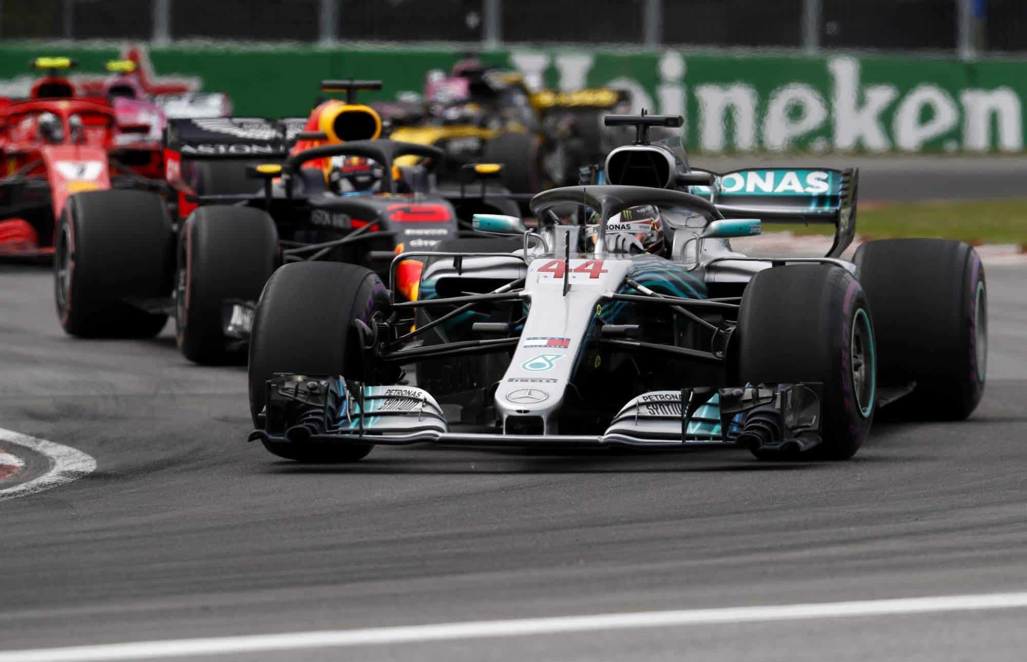 Hamilton leads Ricciardo Canadian GP F1 2018 Photo Daimler