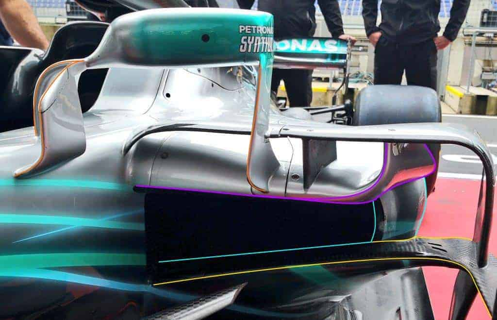 Mercedes W09 F1 2018 Austrian GP aero upgrade sidepod
