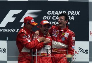 Schumacher-Barrichello-Dyer-Ferrari-Canadian-GP-F1-2004-podium-Photo-Ferrari