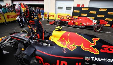 Verstappen French GP F1 2018 post race parc ferme Red Bull RB14 Ferrari SF71H Photo Red Bull