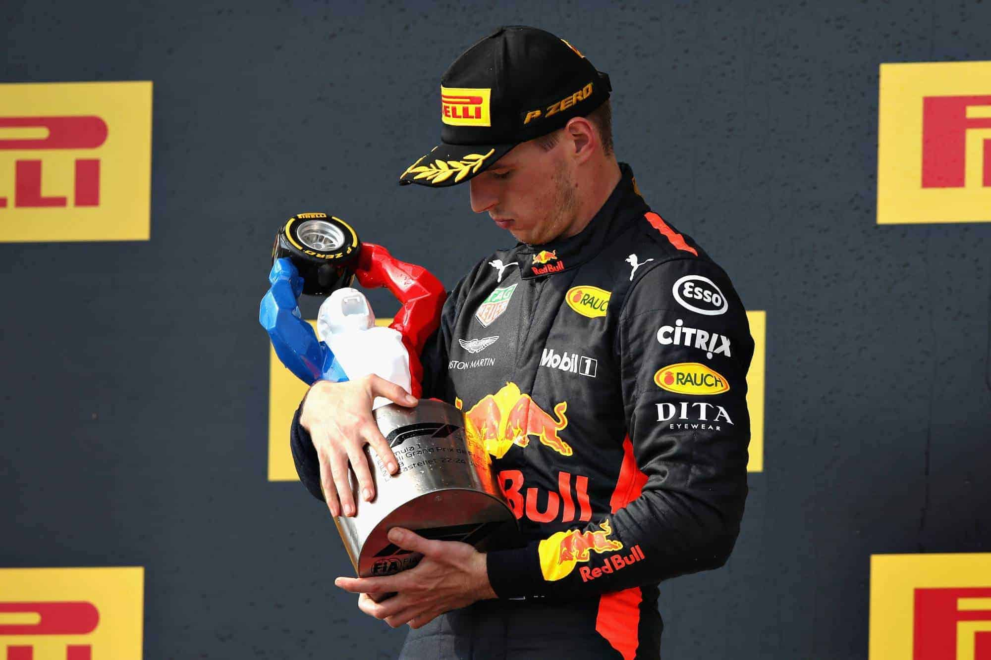 Verstappen French GP F1 2018 post race podium Red Bull RB14 Photo Red Bull