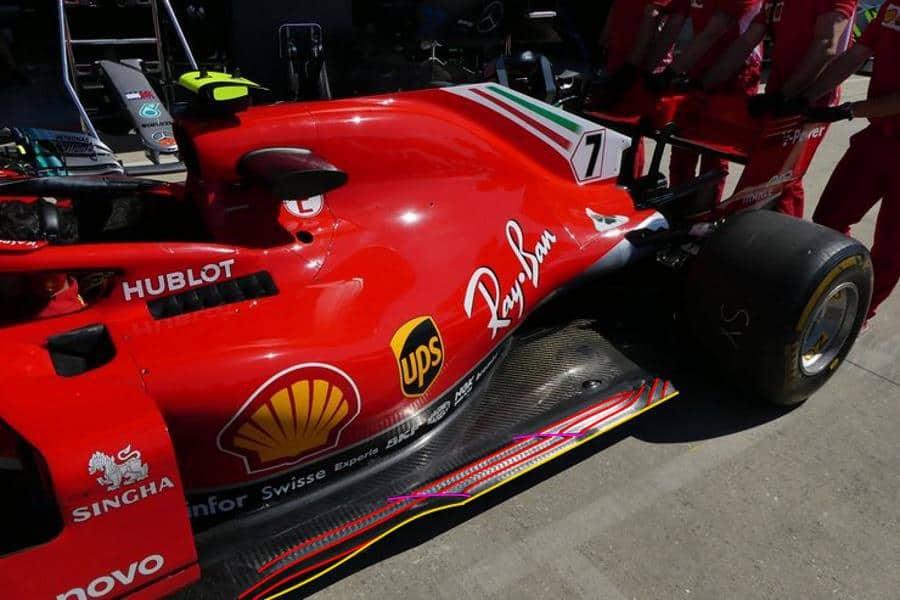 Ferrari SF71H British GP F1 2018 side view slots floor new Raikkonen Photo AMuS Ferrari