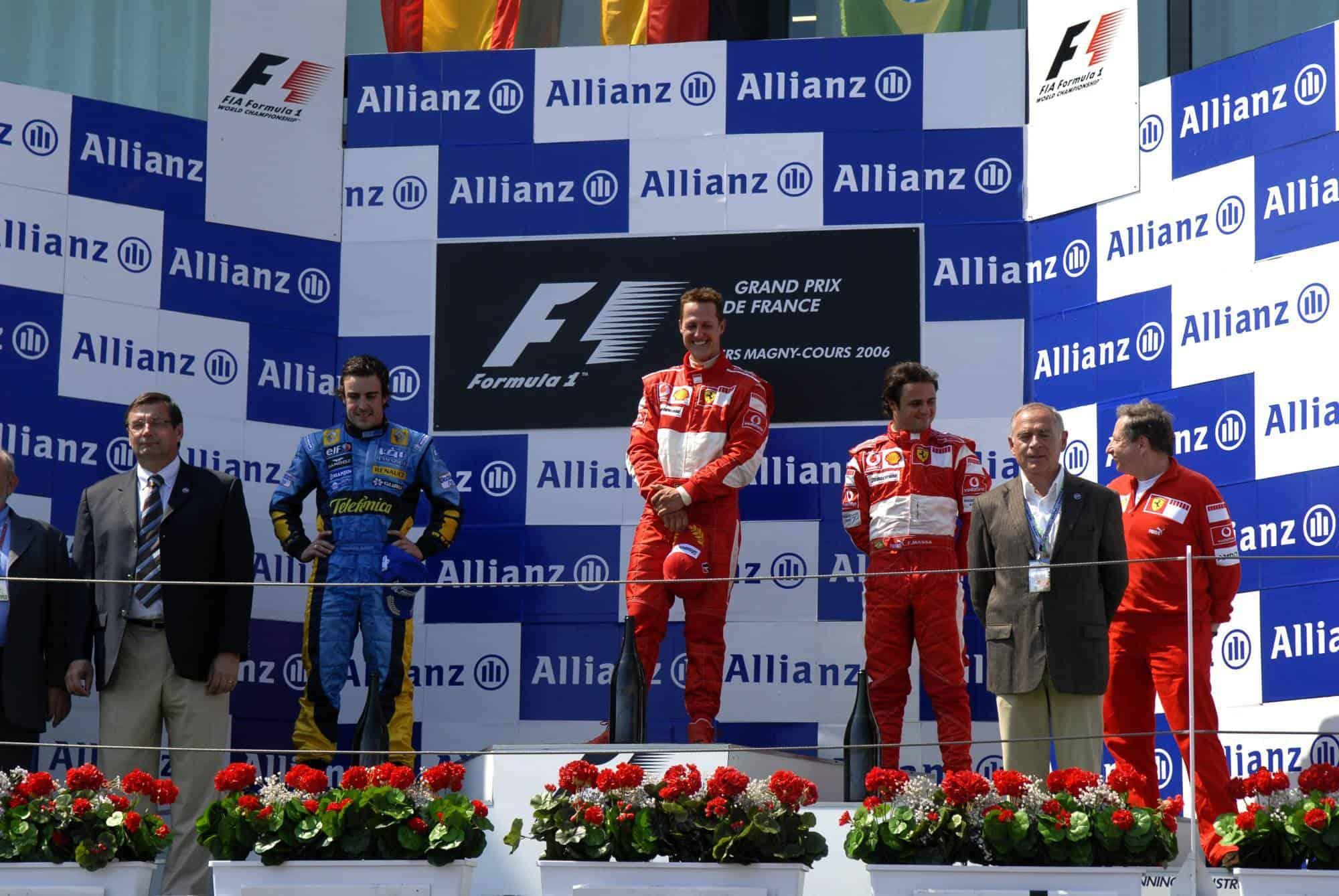 French GP F1 2006 podium Alonso Schumacher Massa Photo Ferrari