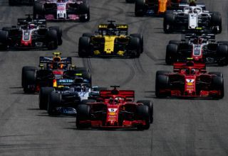 German GP F1 2018 start Ferrari leads Mercedes Photo Ferrari