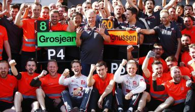 Grosjean Magnussen Austrian GP F1 2018 celebration Haas F1 team Photo Haas