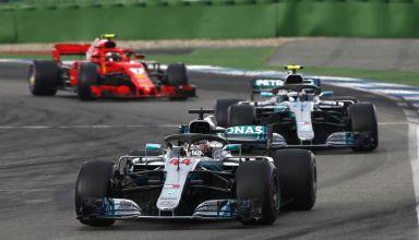Hamilton leads Bottas Raikkonen German GP F1 2018 Photo Daimler