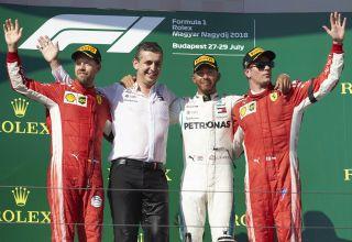 Hungarian GP F1 2018 podium Hamilton Vettel Raikkonen Photo Daimler