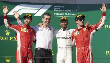 Hungarian GP F1 2018 podium Hamilton Vettel Raikkonen Photo Daimler