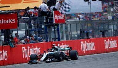 Lewis Hamilton Mercedes W09 German GP F1 2018 finish line win Photo Daimler F1