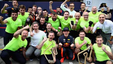 Verstappen Red Bull F1 2018 Austrian GP win team Photo Red Bull