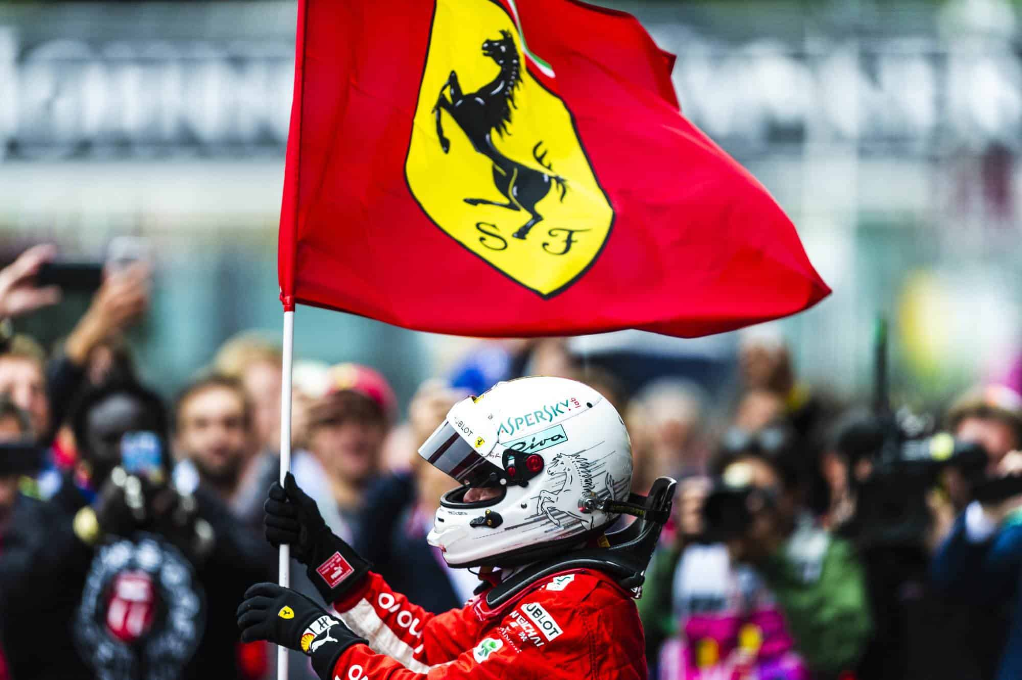 Belgian GP F1 2018 Vettel Ferrari flag after race Photo Ferrari