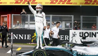 Hamilton celebrates his 78th pole position Belgian GP F1 2018 Photo Daimler