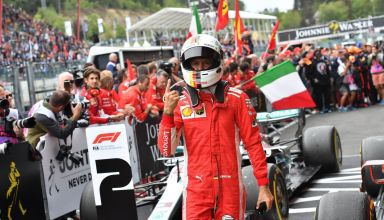 Sebastian Vettel Ferrari SF71H Belgian GP F1 2018 parc ferme celebration Photo Ferrari F1