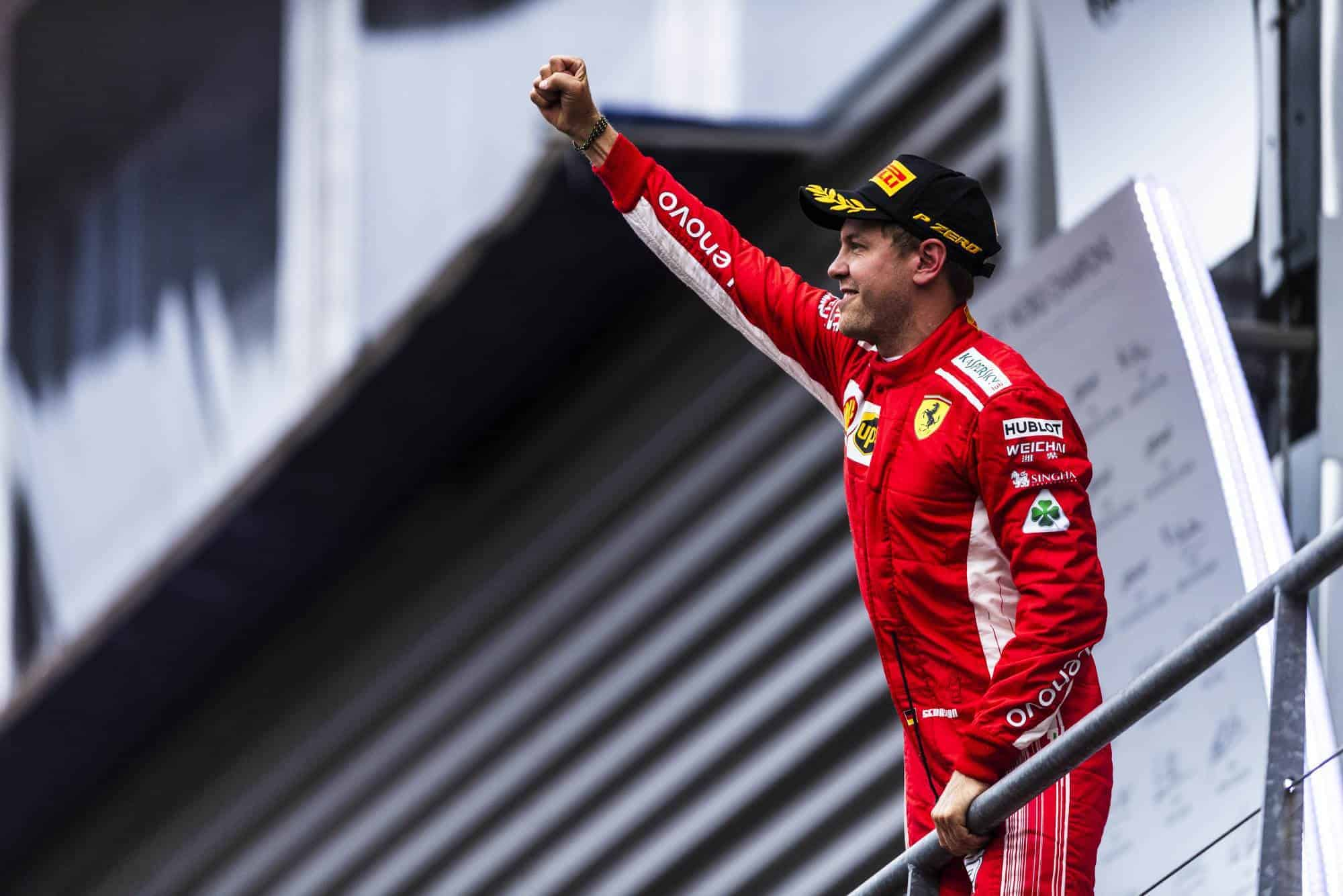 Sebastian Vettel Ferrari SF71H Belgian GP F1 2018 podium celebration Photo Ferrari