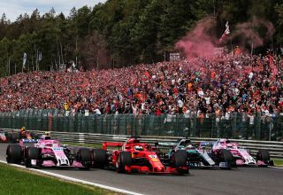 Vettel Ocon Hamilton Perez Belgian GP F1 2018 Photo Force India