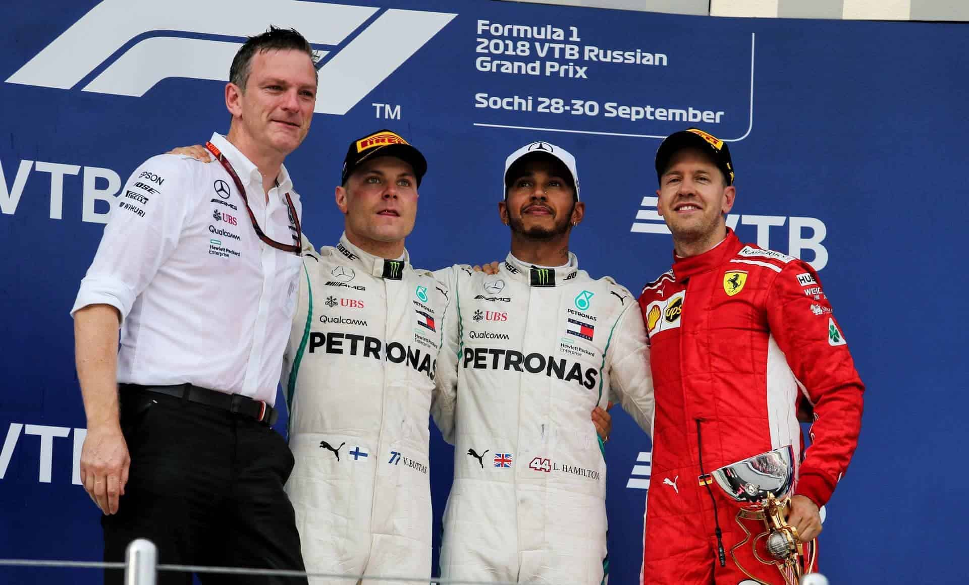 Bottas Allison Hamilton Vettel Mercedes Russian GP F1 2018 podium Photo Daimler