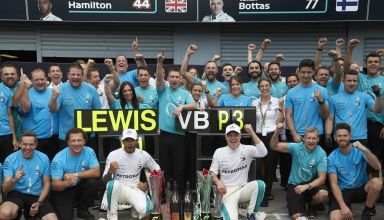 Bottas Hamilton Mercedes Italian GP F1 2018 pitlane Photo Daimler